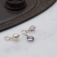 Alexandrite and Pearl Swarovski Crystal Charm Add On (June birthstone)