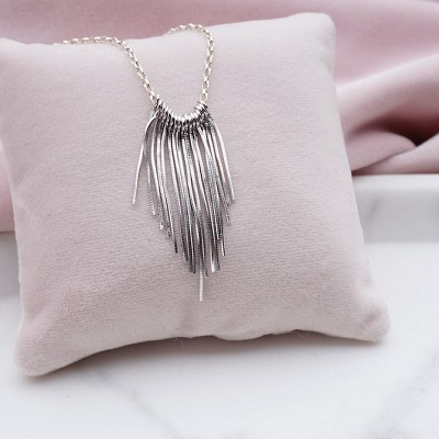 Chiara Fringe Tassel Sterling Silver Necklace